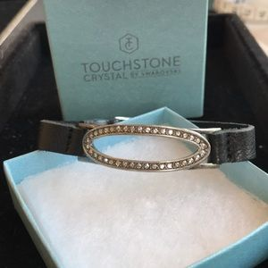NWT Pave oval crystal and leather bracelet